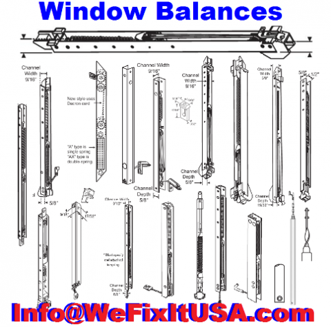 Any window balance, any size, all window brands and all styles used in old government offices, buildings and housing facilities